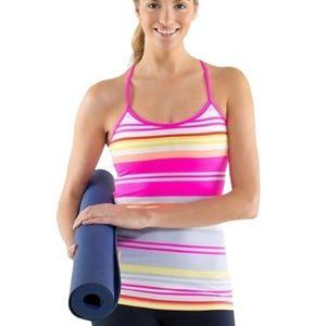 Lululemon Athletica Power Y Tank In Raspberry Glo Groovy Stripe Size 4